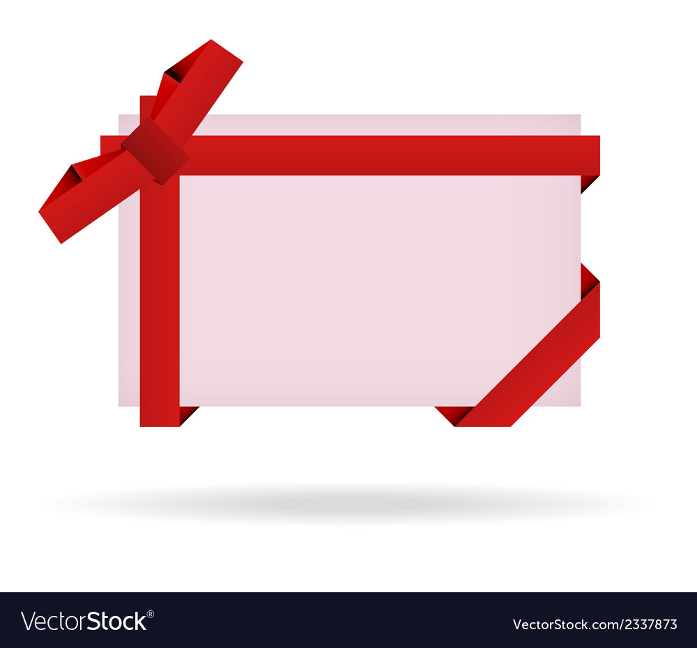 Red gift card with ribbon and bow vector | Price: 1 Credit (USD $1)