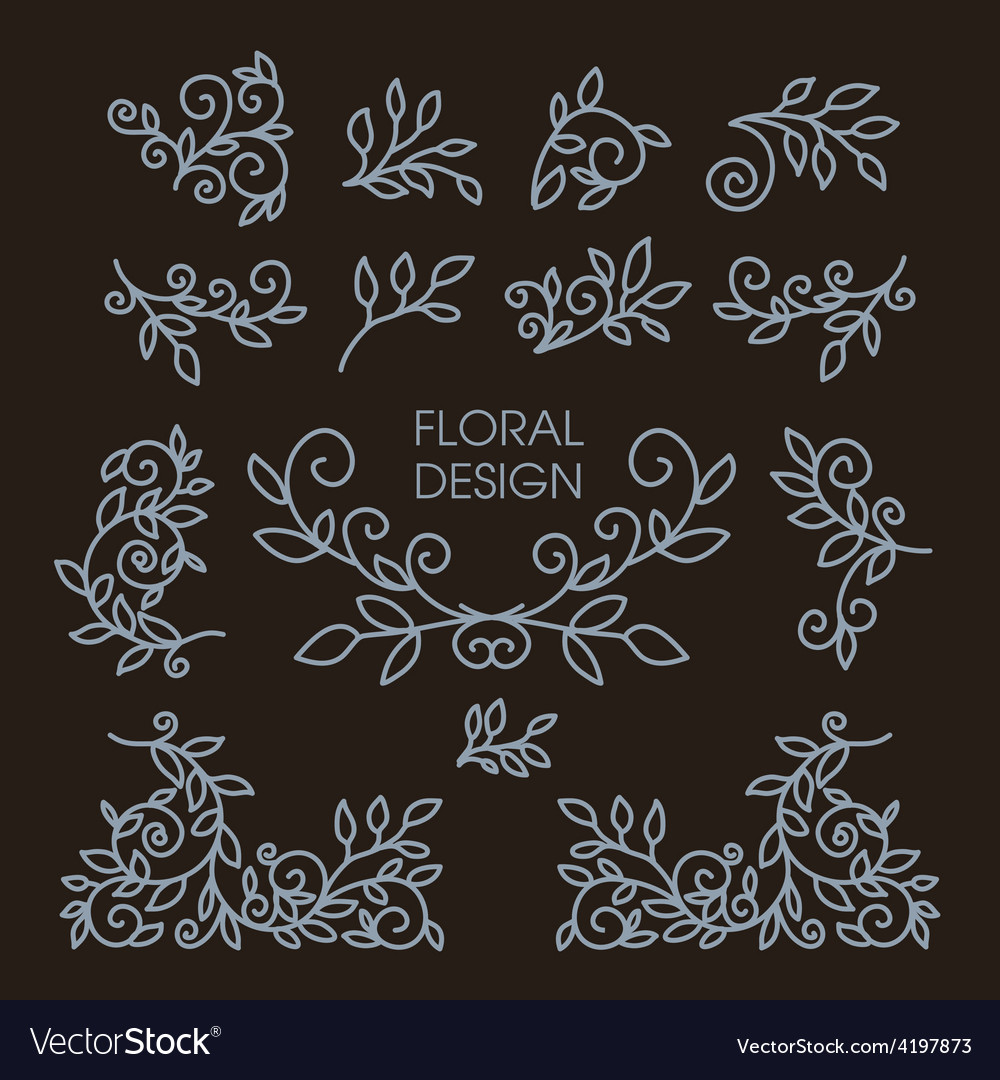 Set of floral line design elements vector | Price: 1 Credit (USD $1)
