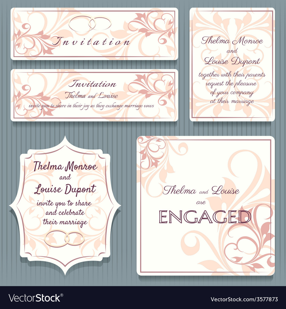 Variety wedding invitation card elemets vector | Price: 1 Credit (USD $1)
