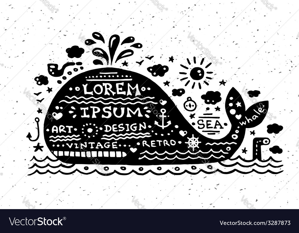 Vintage grunge label with whale vector | Price: 1 Credit (USD $1)