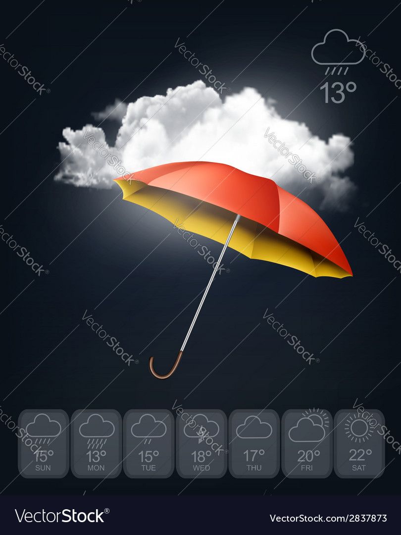 Weather forecast template an umbrella on rainy vector | Price: 1 Credit (USD $1)