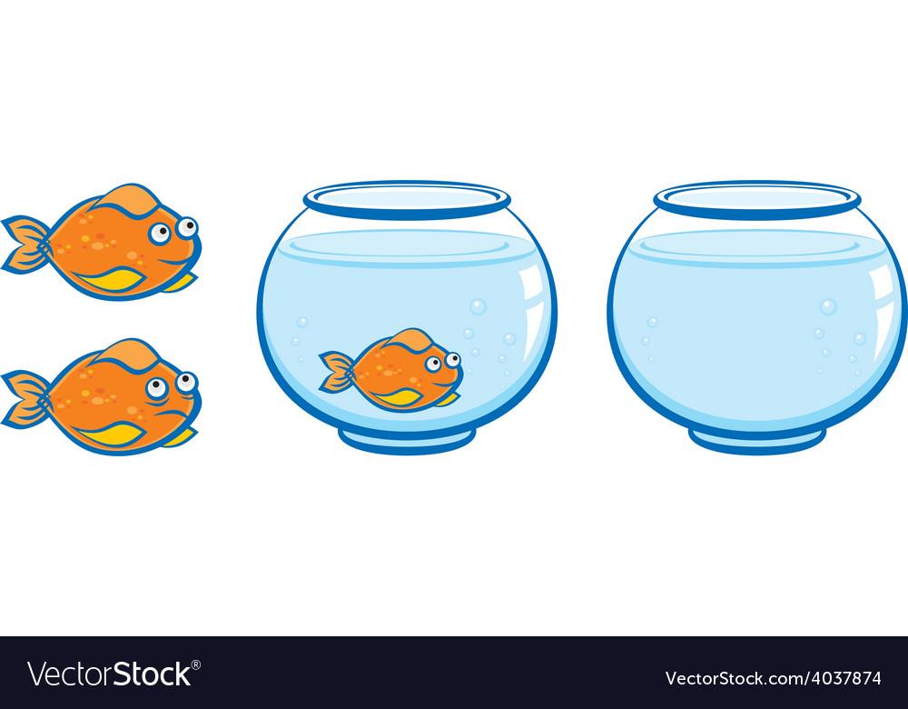 Aquarium and goldfish with smile vector | Price: 1 Credit (USD $1)