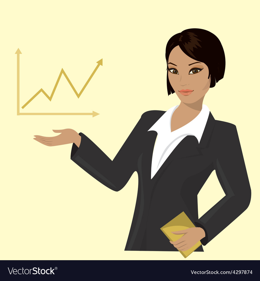 Asian business woman pointing to business trends vector | Price: 1 Credit (USD $1)