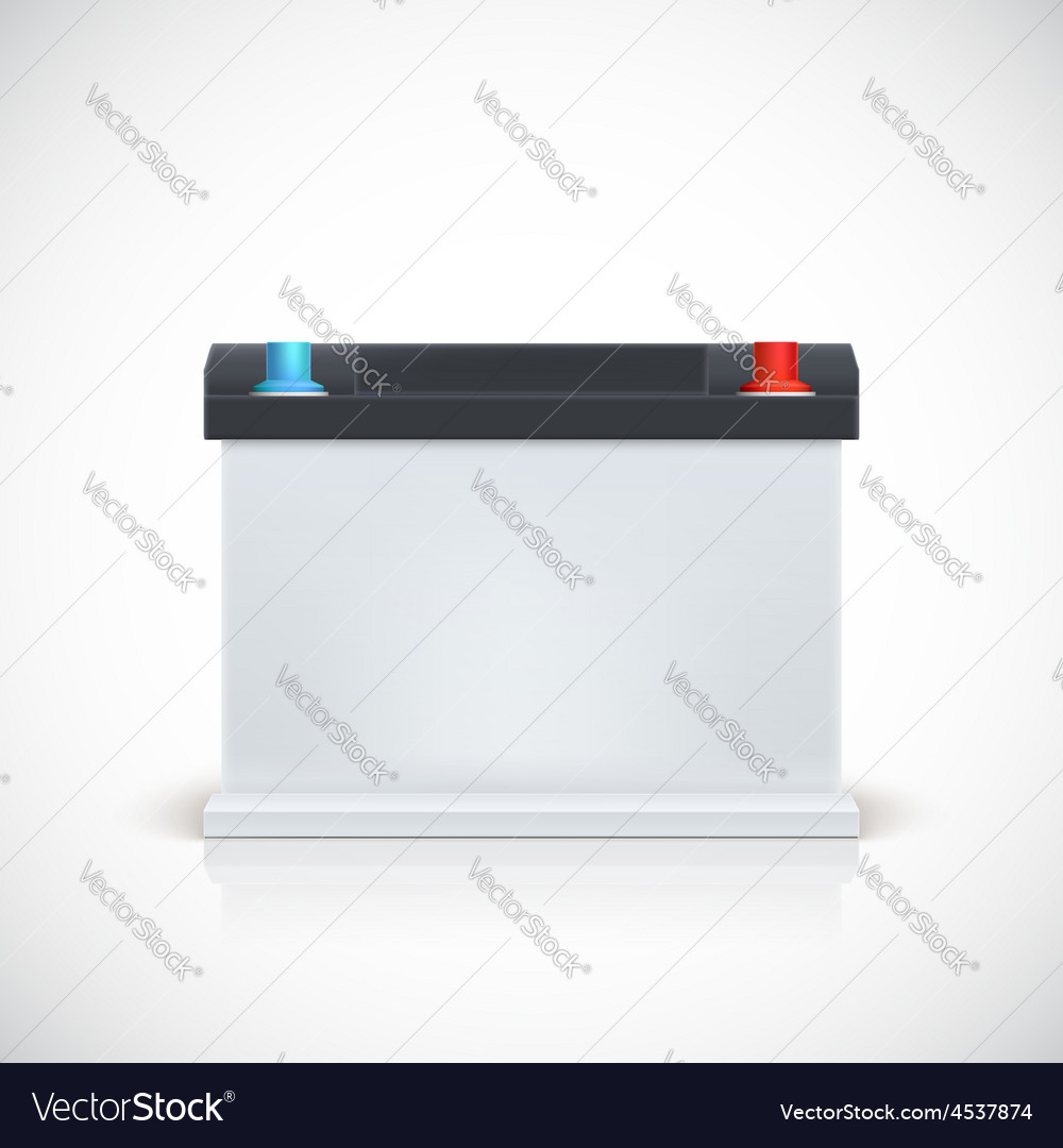 Auto battery front view vector | Price: 1 Credit (USD $1)