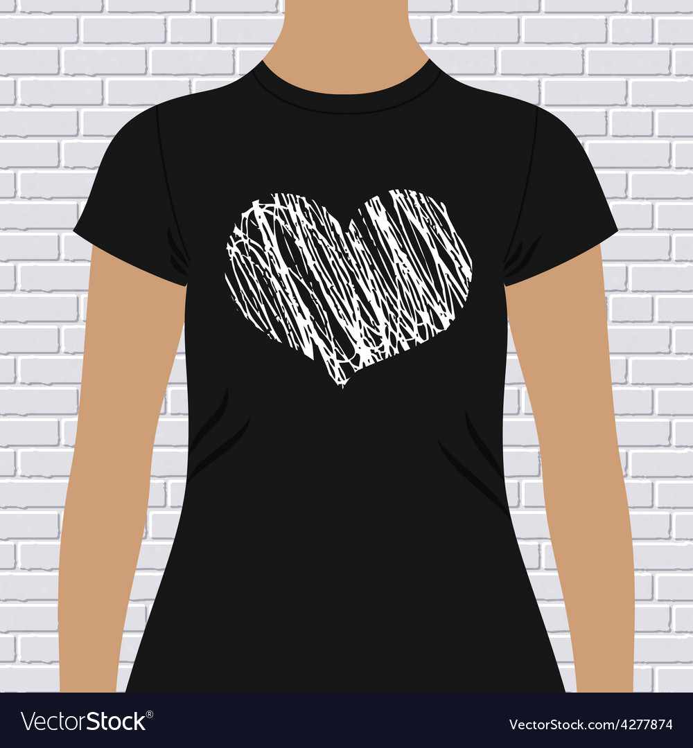 Black and white heart on a t-shirt template vector | Price: 1 Credit (USD $1)