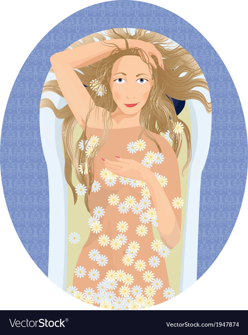Blonde woman taking a bath with flowers vector | Price: 1 Credit (USD $1)