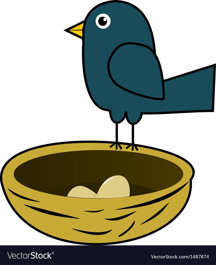 Blue bird in nest vector | Price: 1 Credit (USD $1)