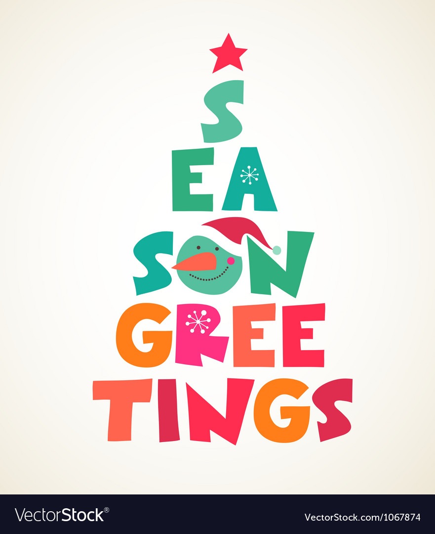 Christmas tree with season greetings cute cutout vector | Price: 1 Credit (USD $1)