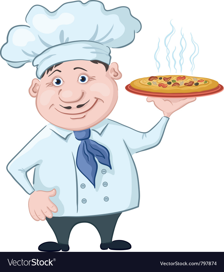 Cook holds a hot pizza vector | Price: 3 Credit (USD $3)
