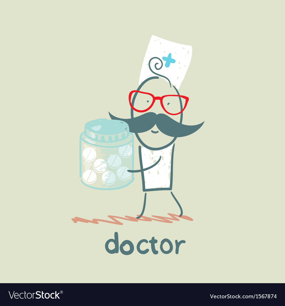 Doctor with pills vector | Price: 1 Credit (USD $1)