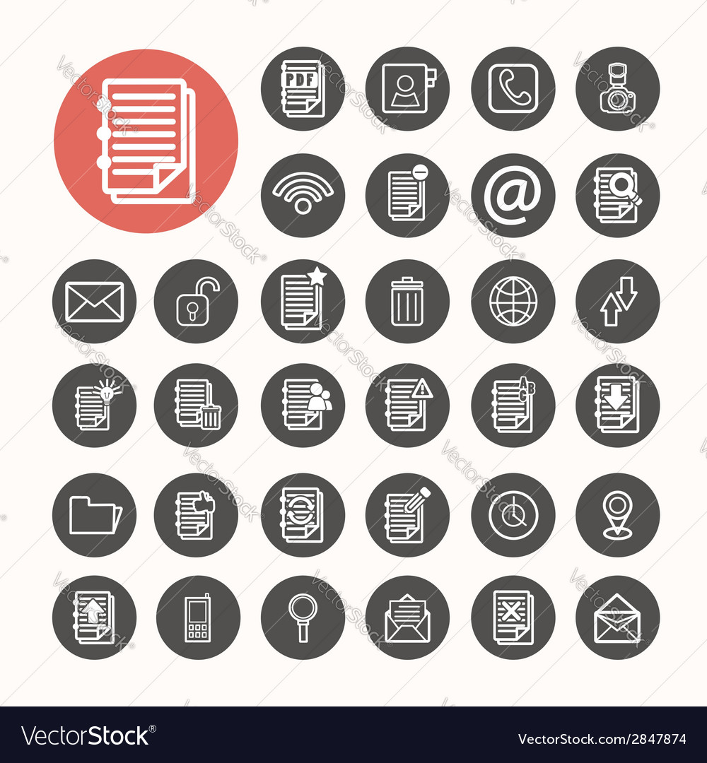 Finance icons and documents note icons set vector | Price: 1 Credit (USD $1)