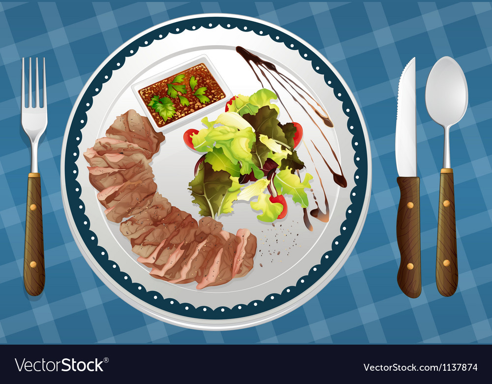Food and a dish vector | Price: 1 Credit (USD $1)
