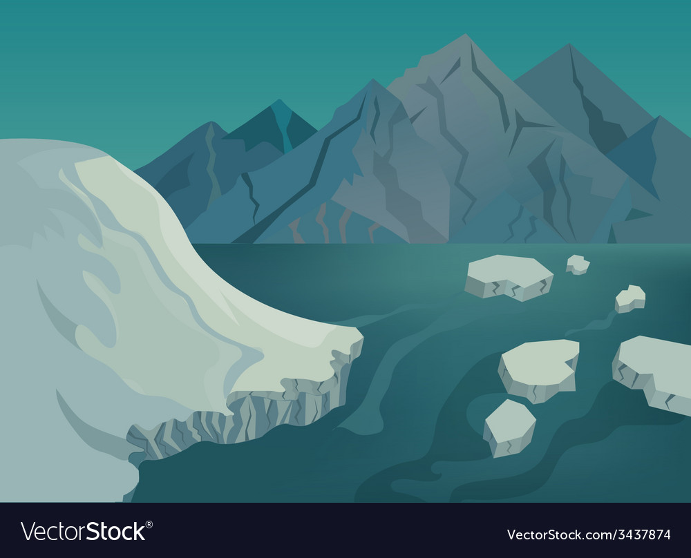 Landscape with snow-capped mountains blue lake and vector | Price: 1 Credit (USD $1)