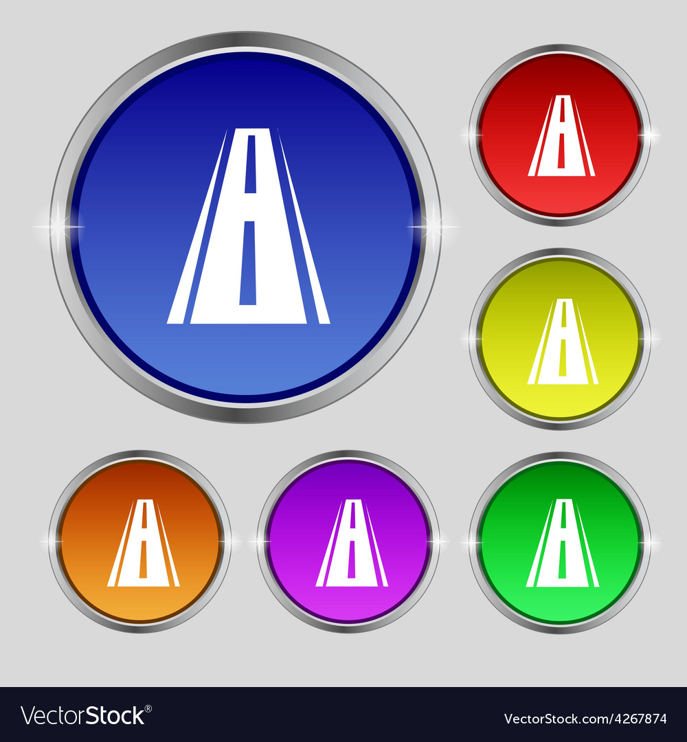 Road icon sign round symbol on bright colourful vector | Price: 1 Credit (USD $1)