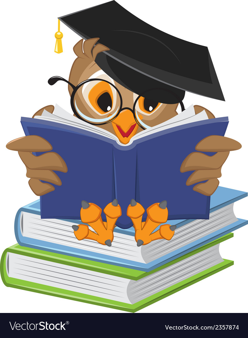Wise owl reading book vector | Price: 1 Credit (USD $1)