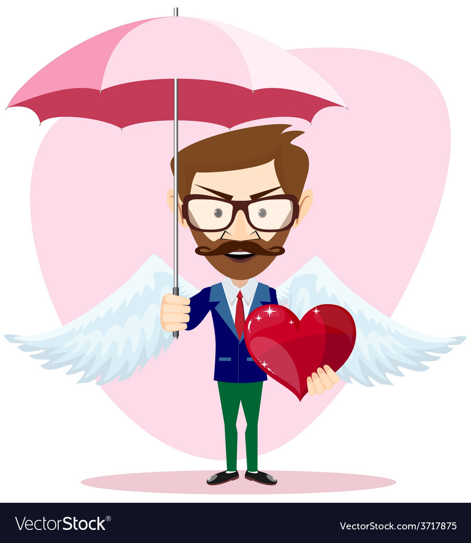 Angel man with an umbrella wings and heart vector | Price: 1 Credit (USD $1)