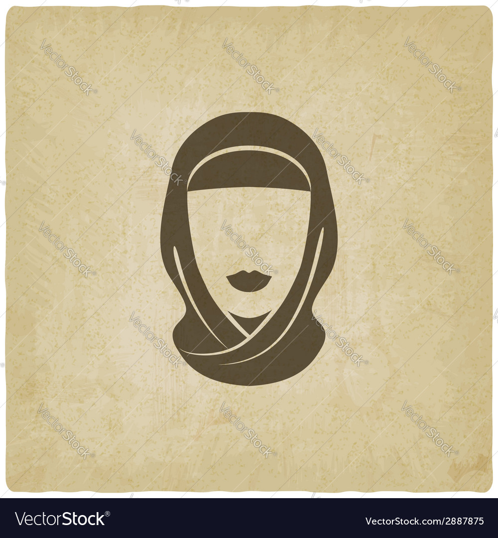 Arabic woman avatar old background vector | Price: 1 Credit (USD $1)
