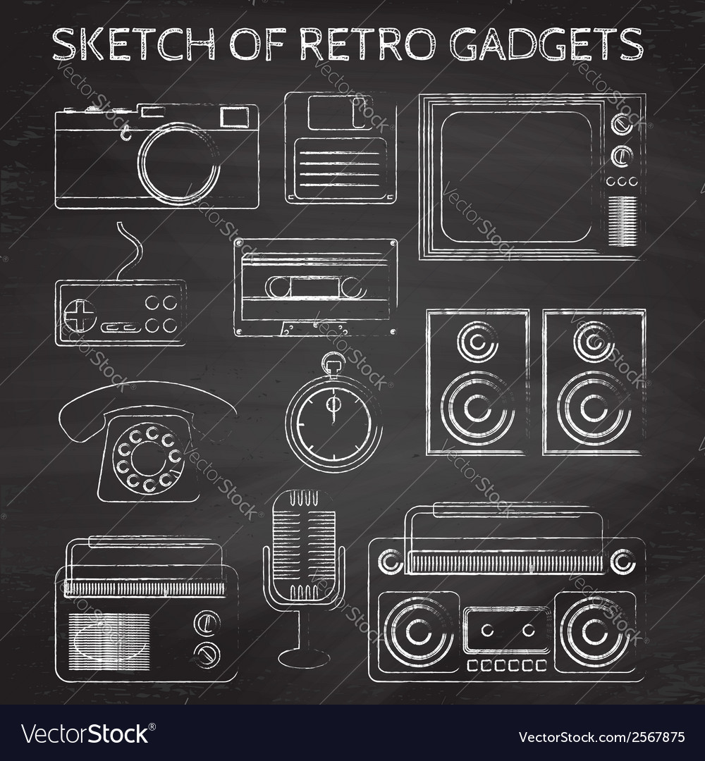 Chalkboard retro gadgets vector | Price: 1 Credit (USD $1)