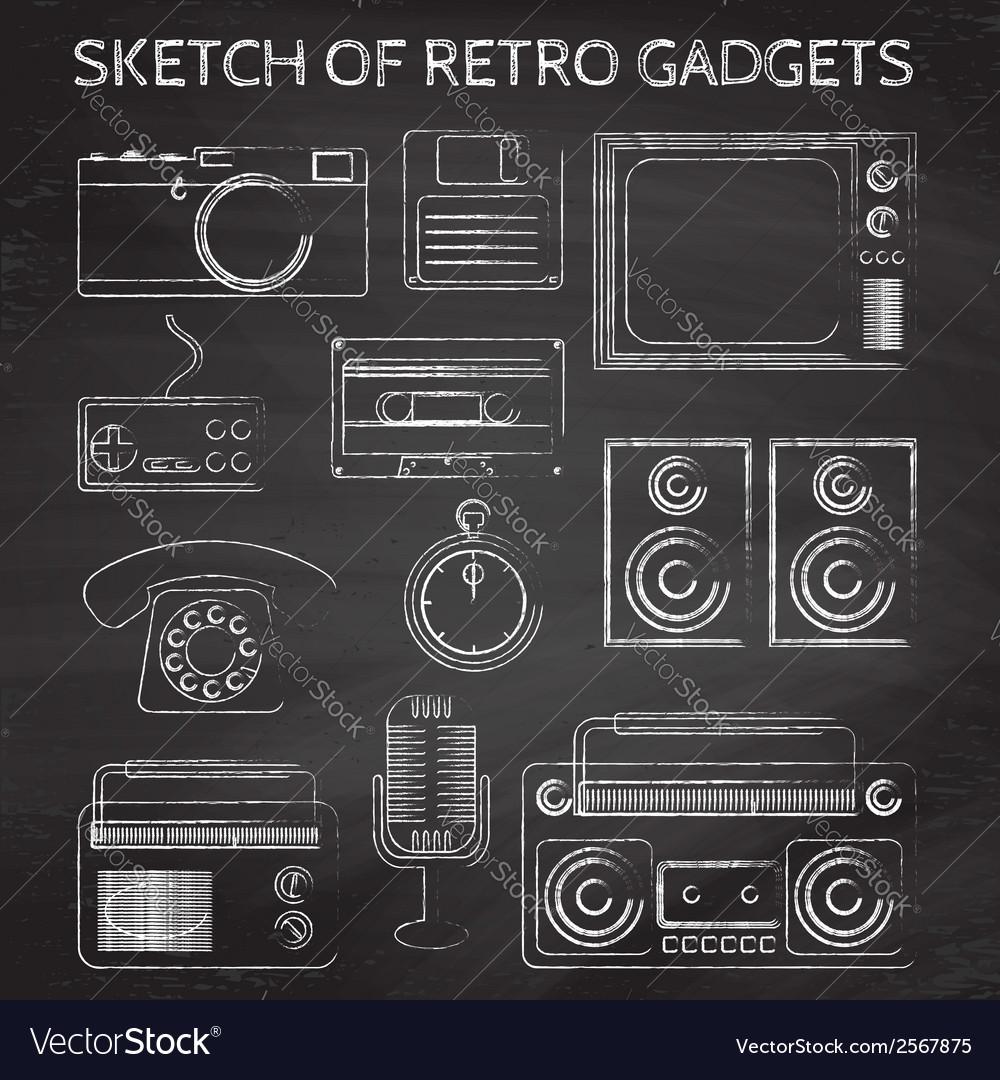 Chalkboard retro gadgets vector | Price: 1 Credit (USD $1)