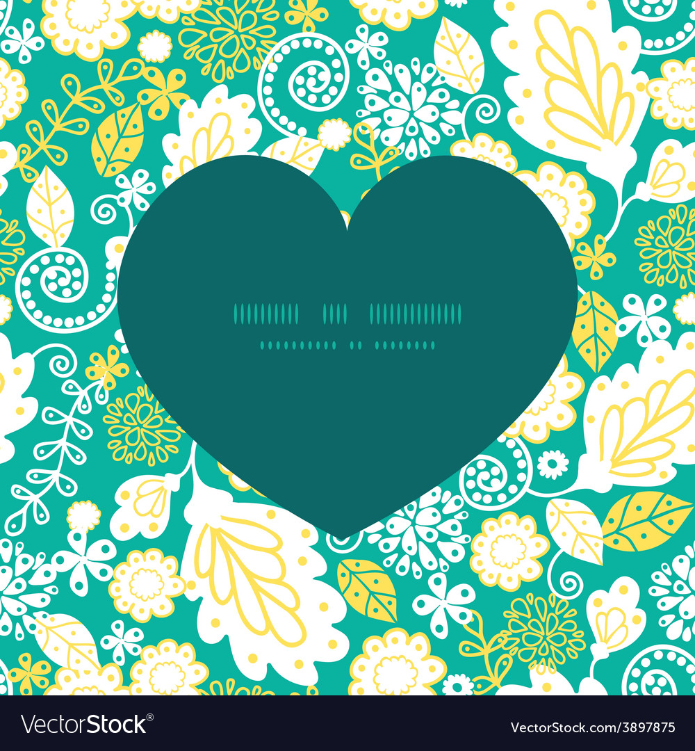 Emerald flowerals heart silhouette pattern vector | Price: 1 Credit (USD $1)