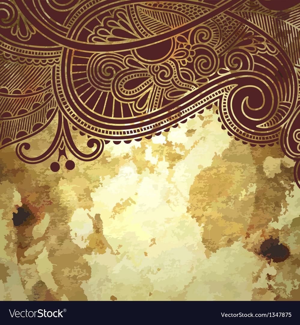 Flower design on grunge gold background vector | Price: 1 Credit (USD $1)