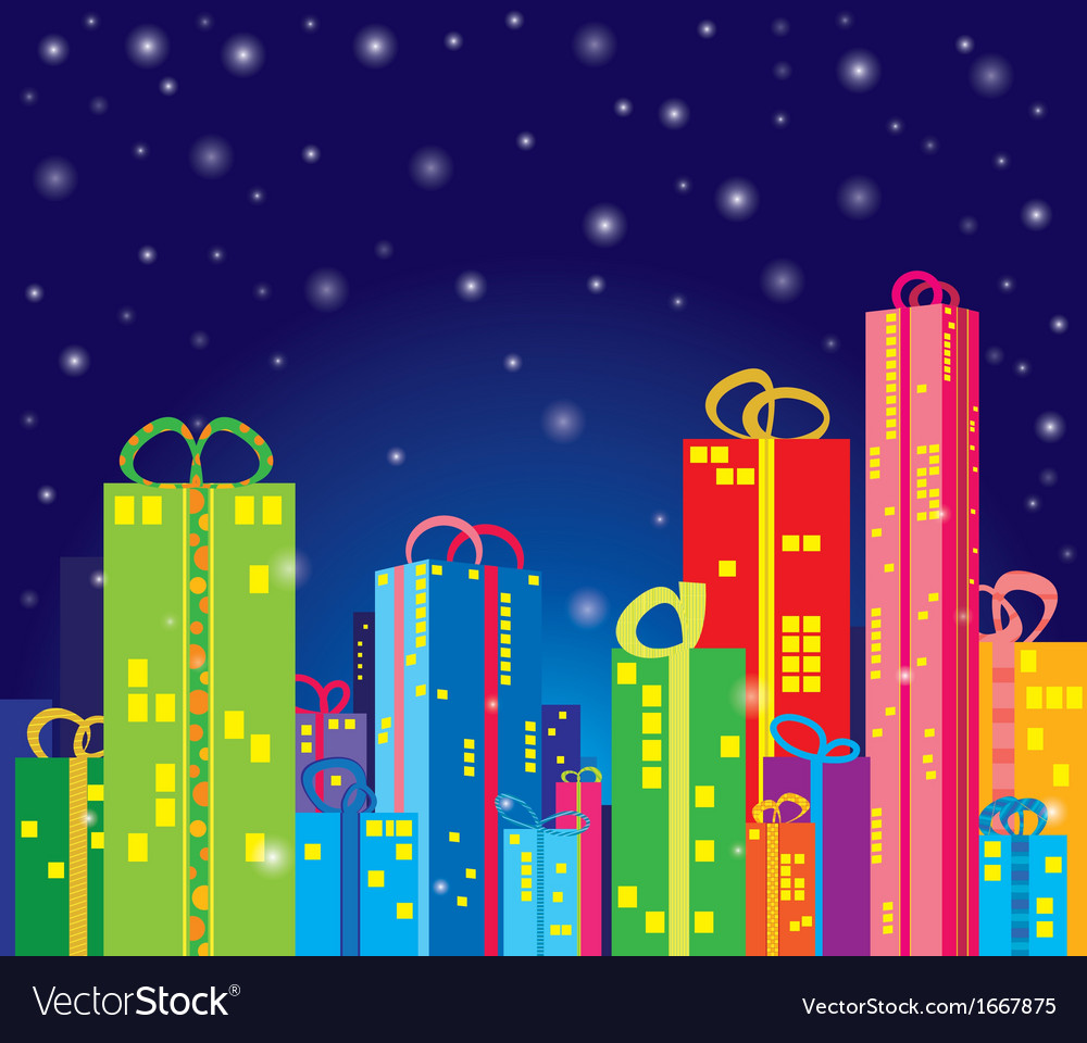 Gifts city vector | Price: 1 Credit (USD $1)