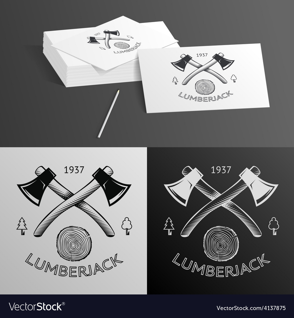 Lumberjack logo symbol hatchet axe wood rings cut vector | Price: 1 Credit (USD $1)