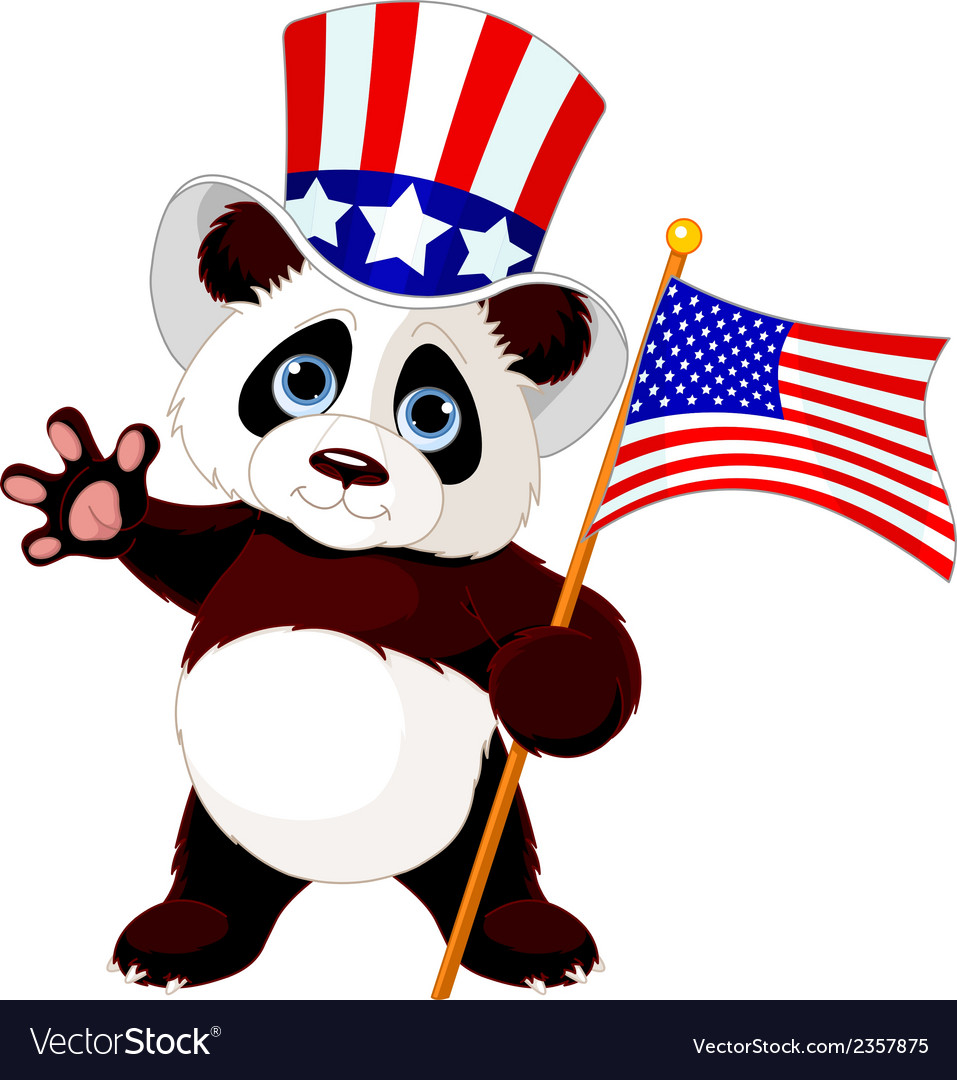 Panda holding american flag vector | Price: 1 Credit (USD $1)