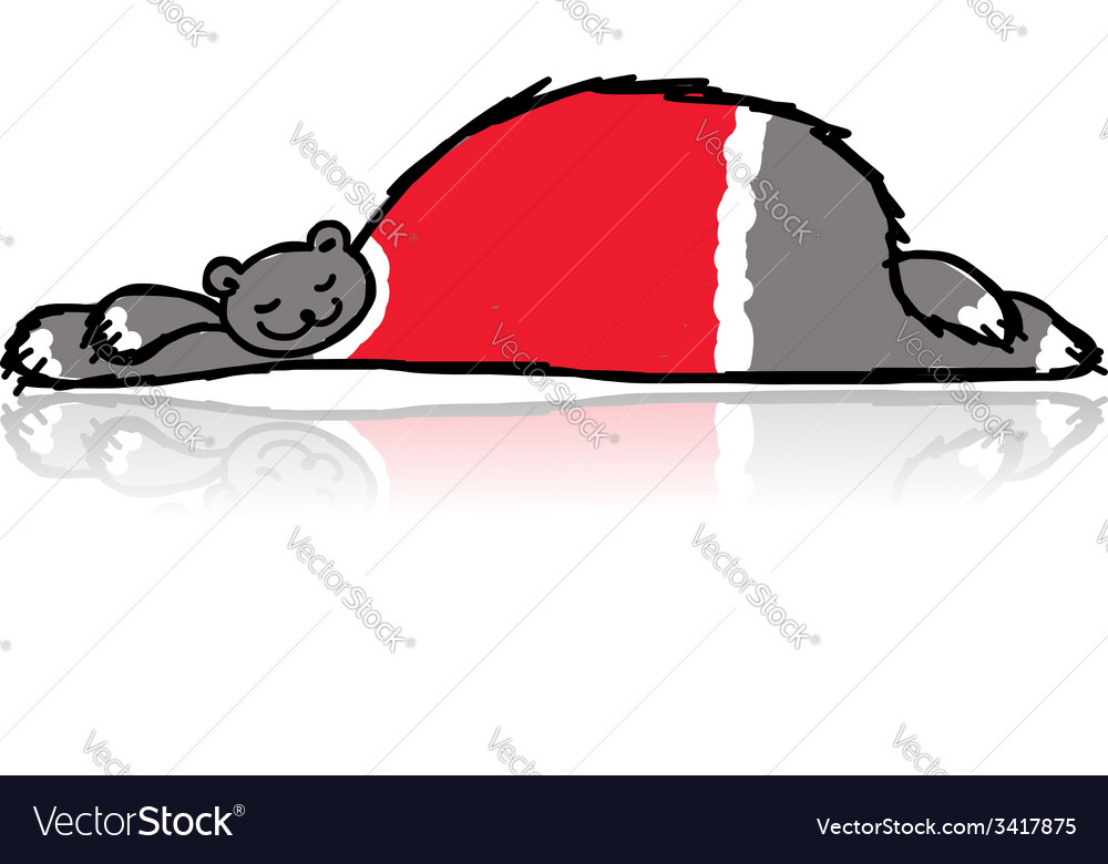 Santa bear sleeping sketch for your design vector | Price: 1 Credit (USD $1)