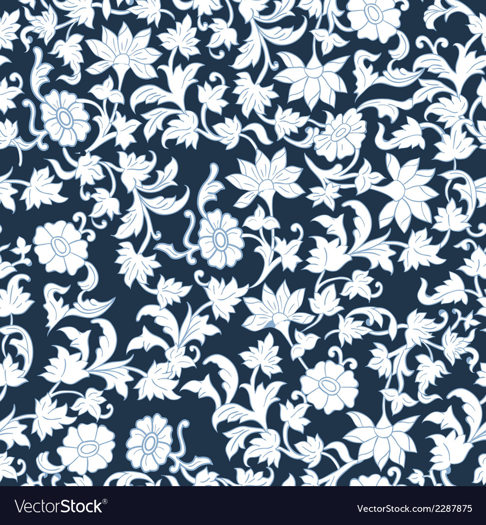 Seamless floral watercolor pattern background vector | Price: 1 Credit (USD $1)