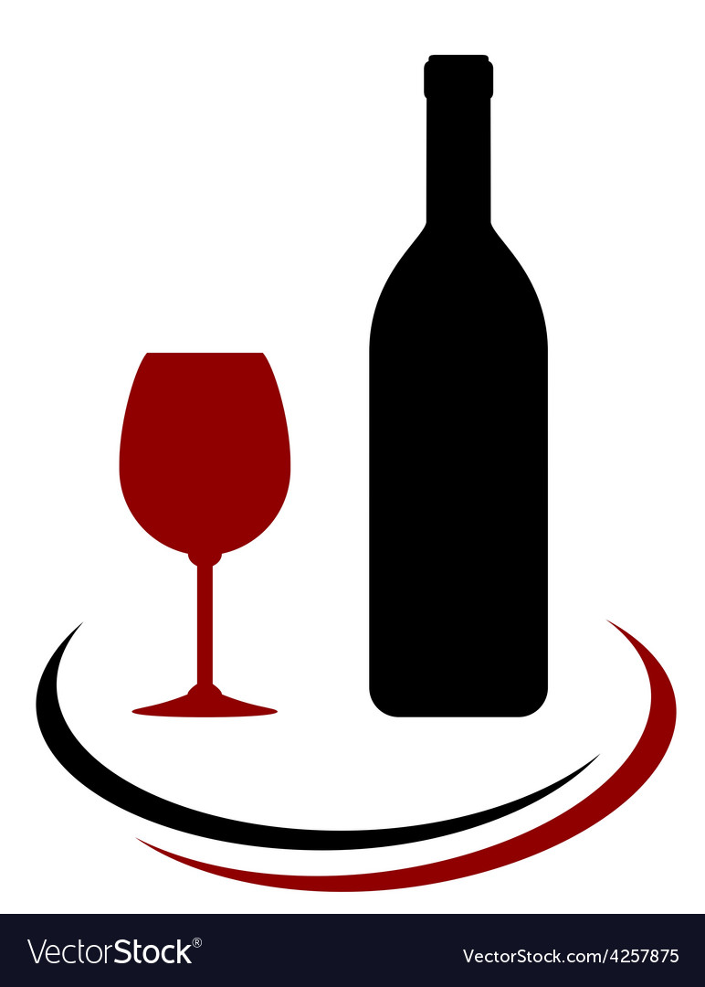 Wine bottle and glass with decorative line vector