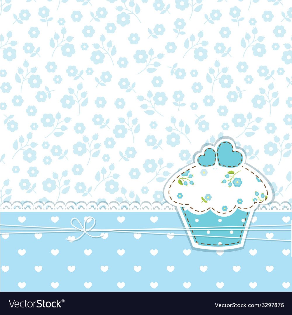 Blue background with cupcake vector | Price: 1 Credit (USD $1)