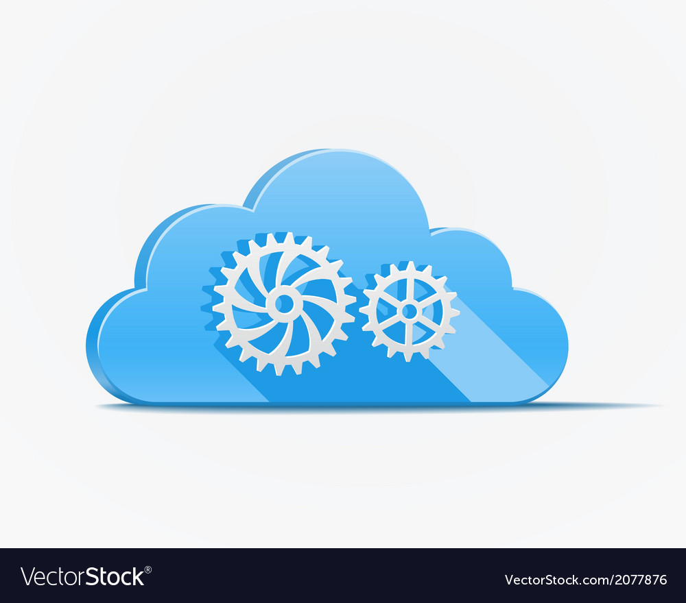 Blue cloud with gears vector | Price: 1 Credit (USD $1)