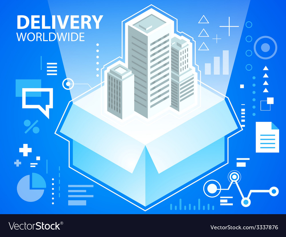 Bright delivery box and buildings on blue ba vector | Price: 3 Credit (USD $3)