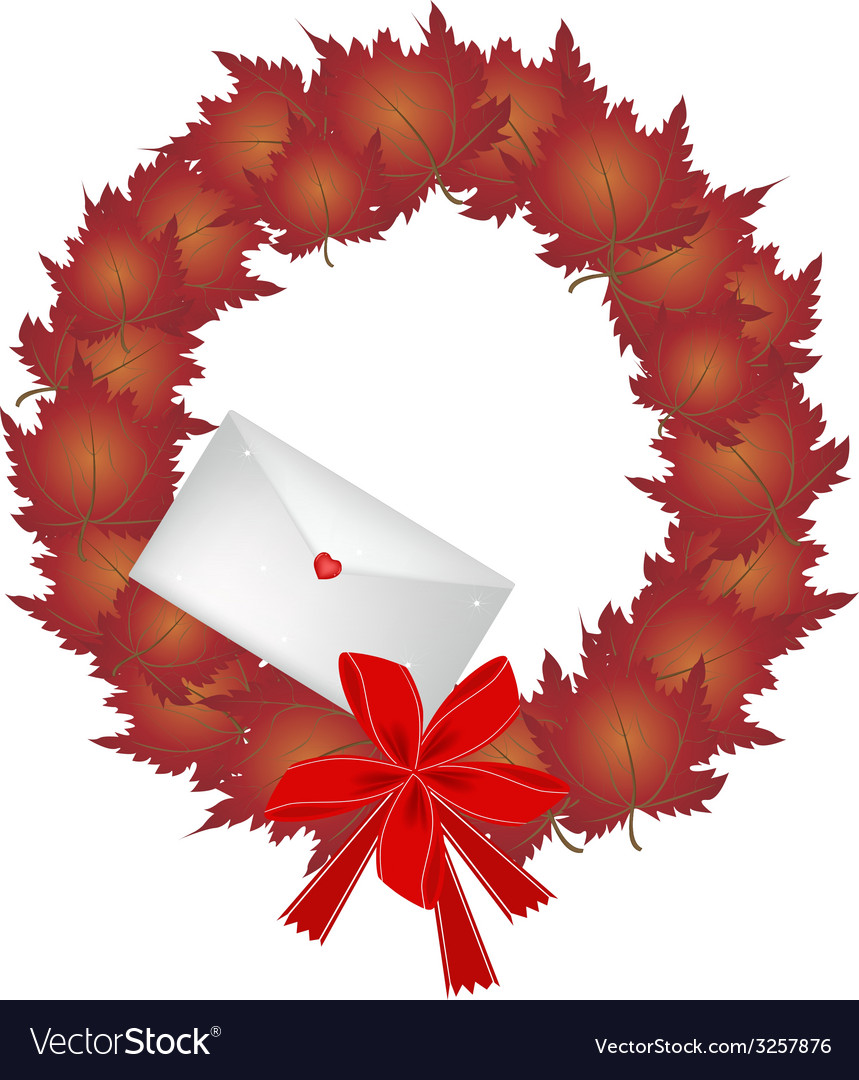 Christmas wreath of red maple leaves and envelope vector | Price: 1 Credit (USD $1)