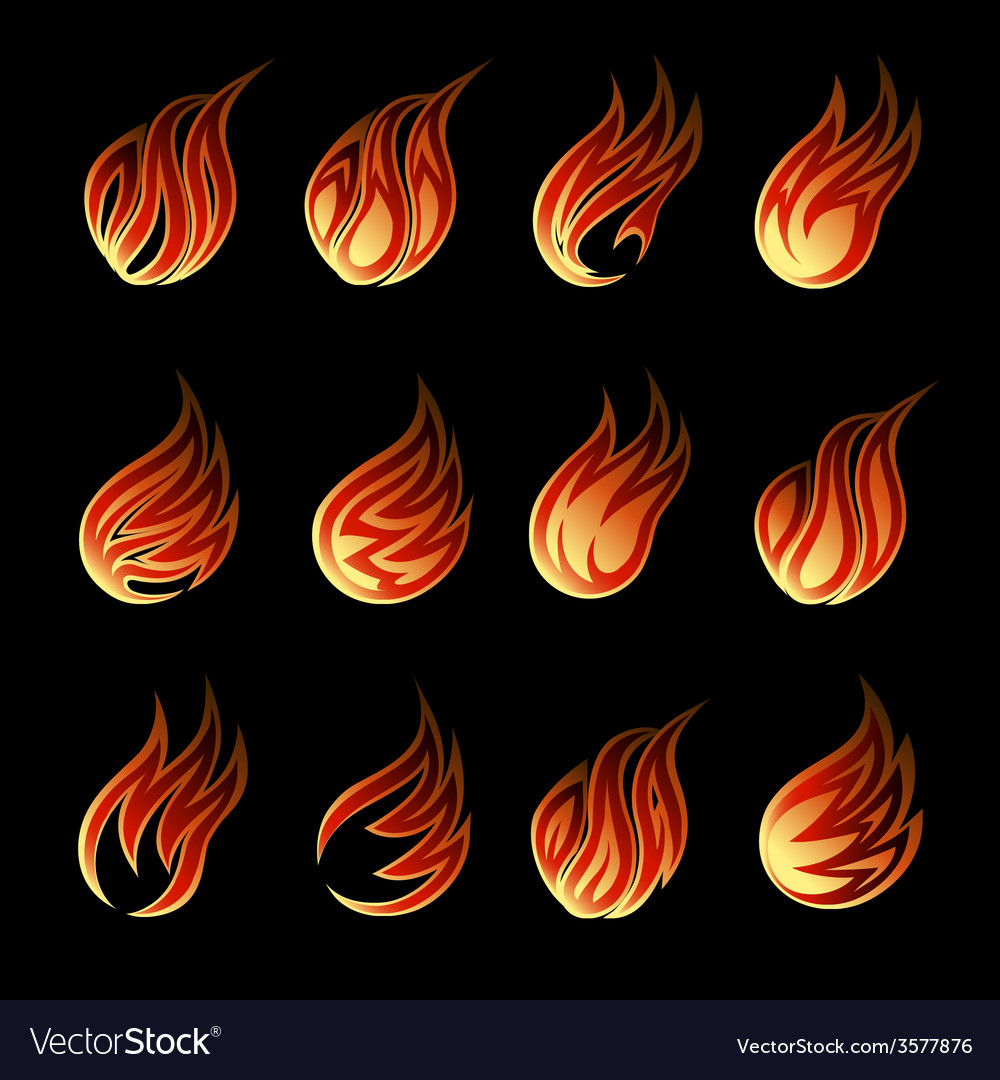Colorful fire icon set vector | Price: 1 Credit (USD $1)