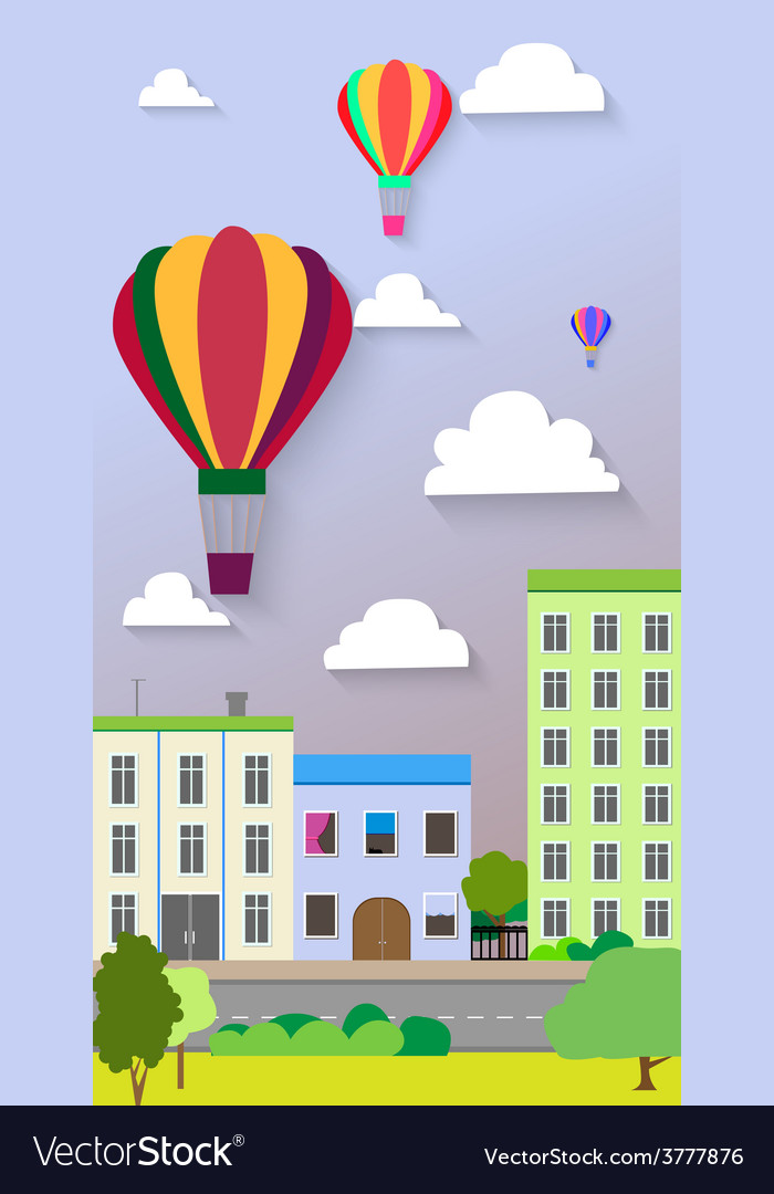 Flat design of the city street and air balloons vector | Price: 1 Credit (USD $1)