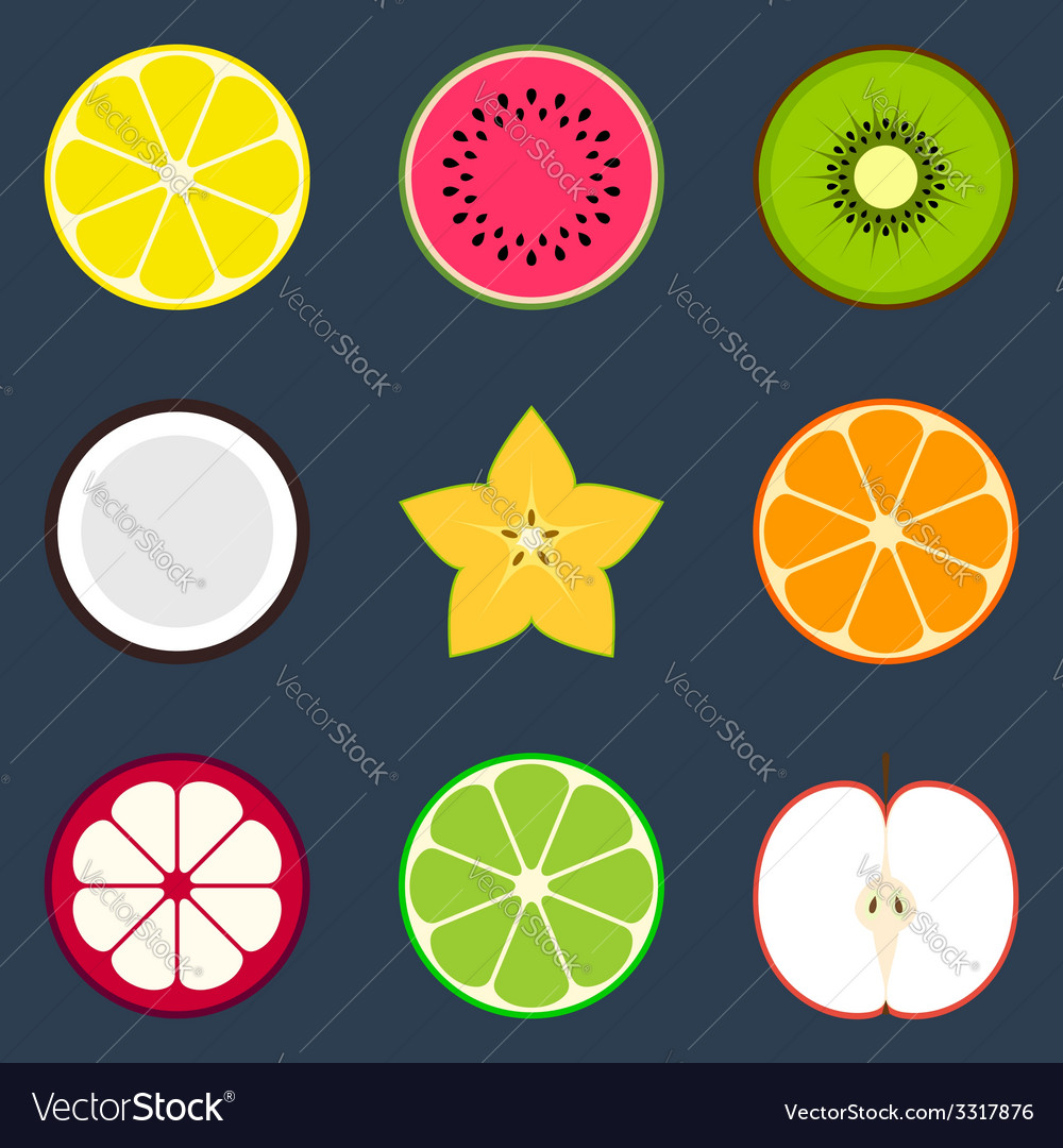 Fruit icon set vector | Price: 1 Credit (USD $1)