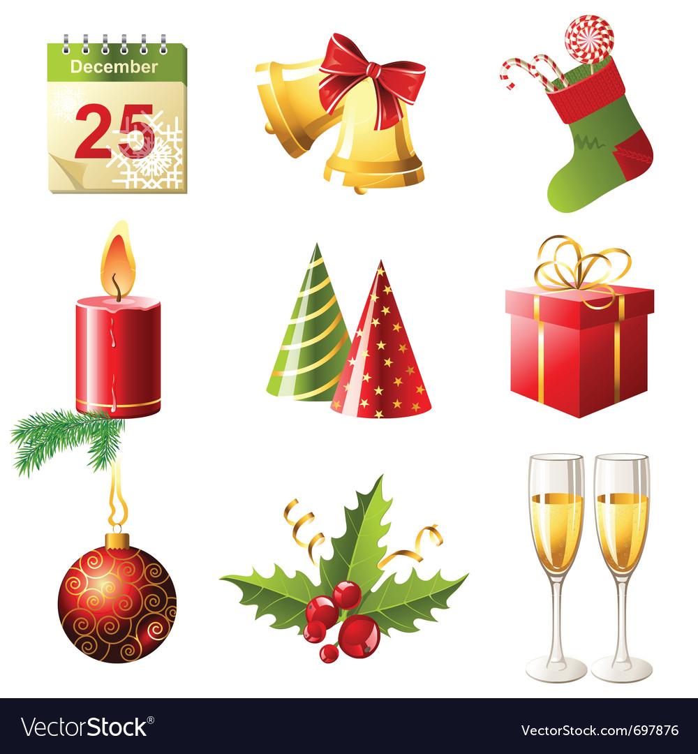 Glossy christmas icons set vector   Price: 3 Credit (USD $3)