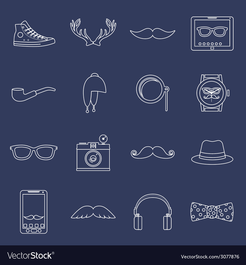 Hipster icons set outline vector | Price: 1 Credit (USD $1)