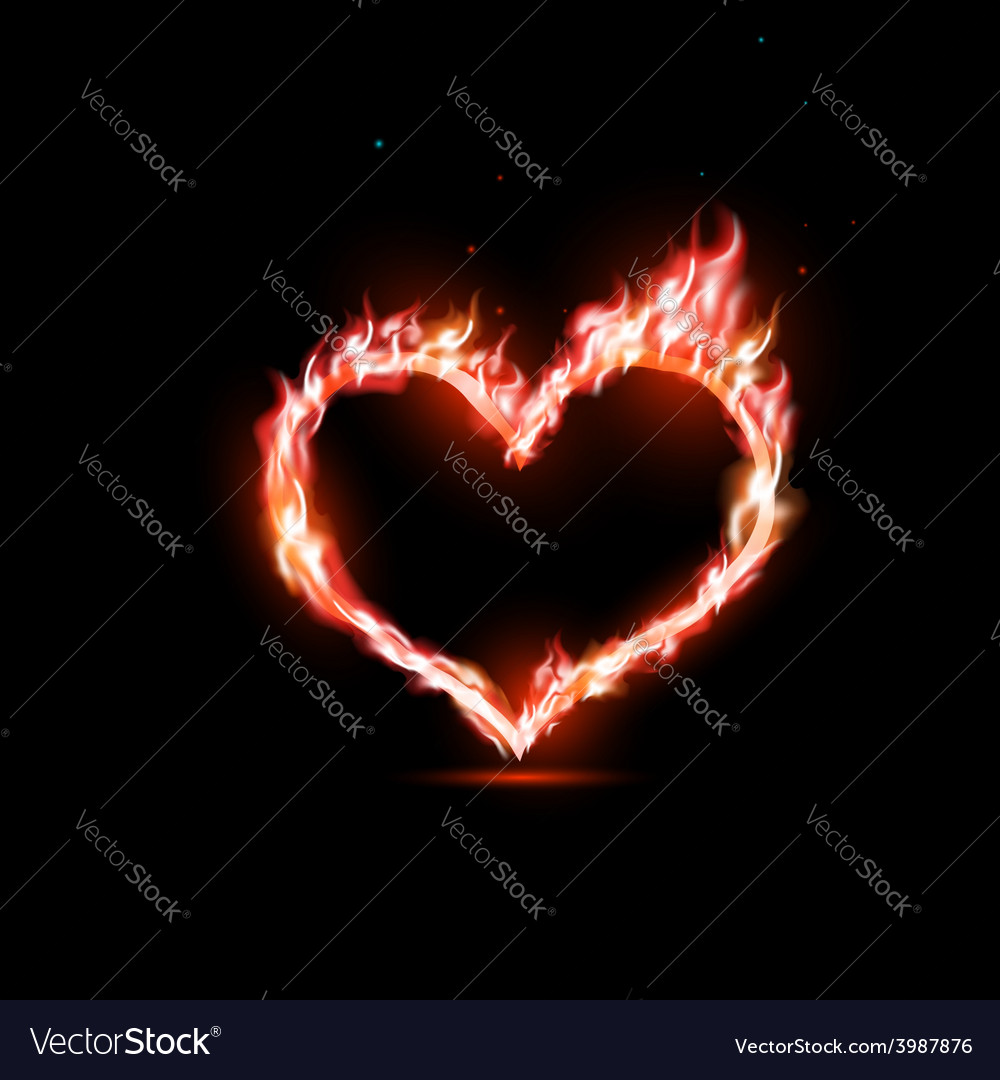 Human heart with red flames vector | Price: 1 Credit (USD $1)