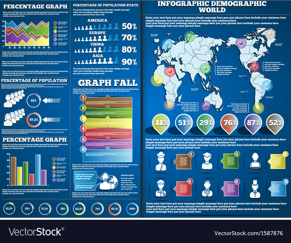 Infographic demograpic blue 2 vector | Price: 1 Credit (USD $1)