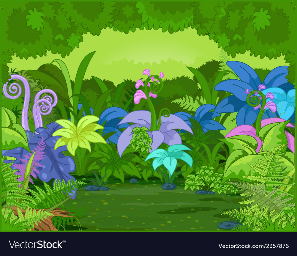 Jungle landscape vector | Price: 1 Credit (USD $1)