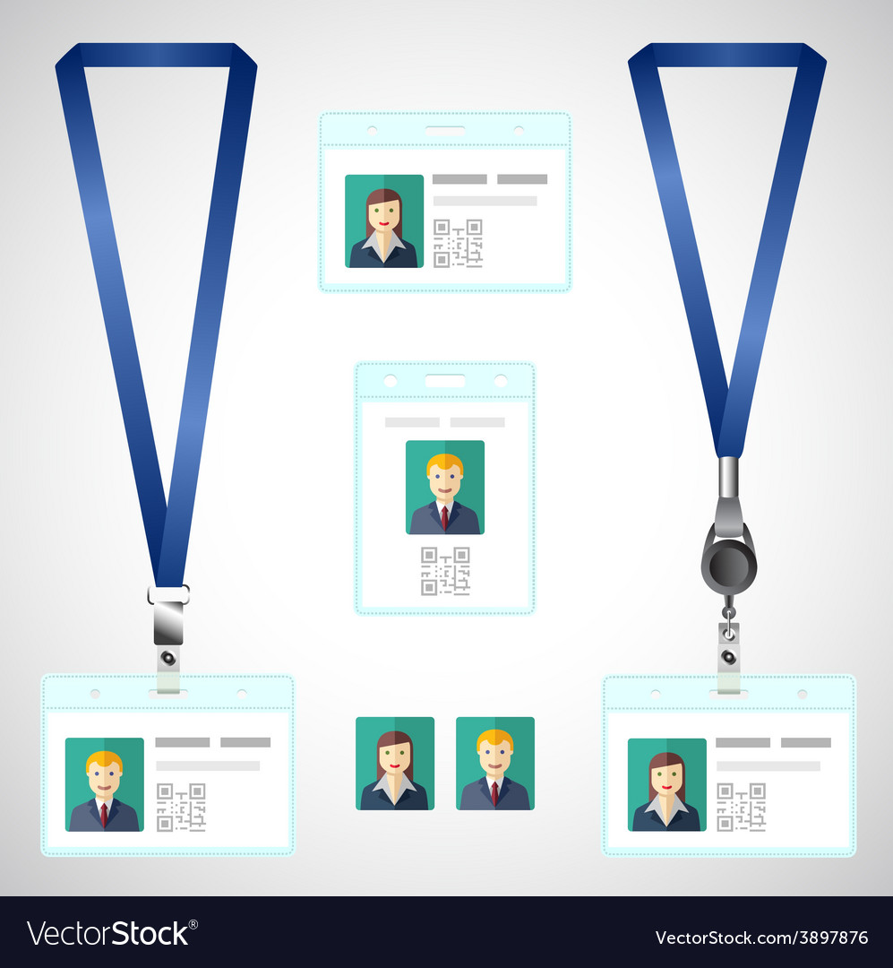 Lanyard name tag holder end badge id template vector | Price: 1 Credit (USD $1)