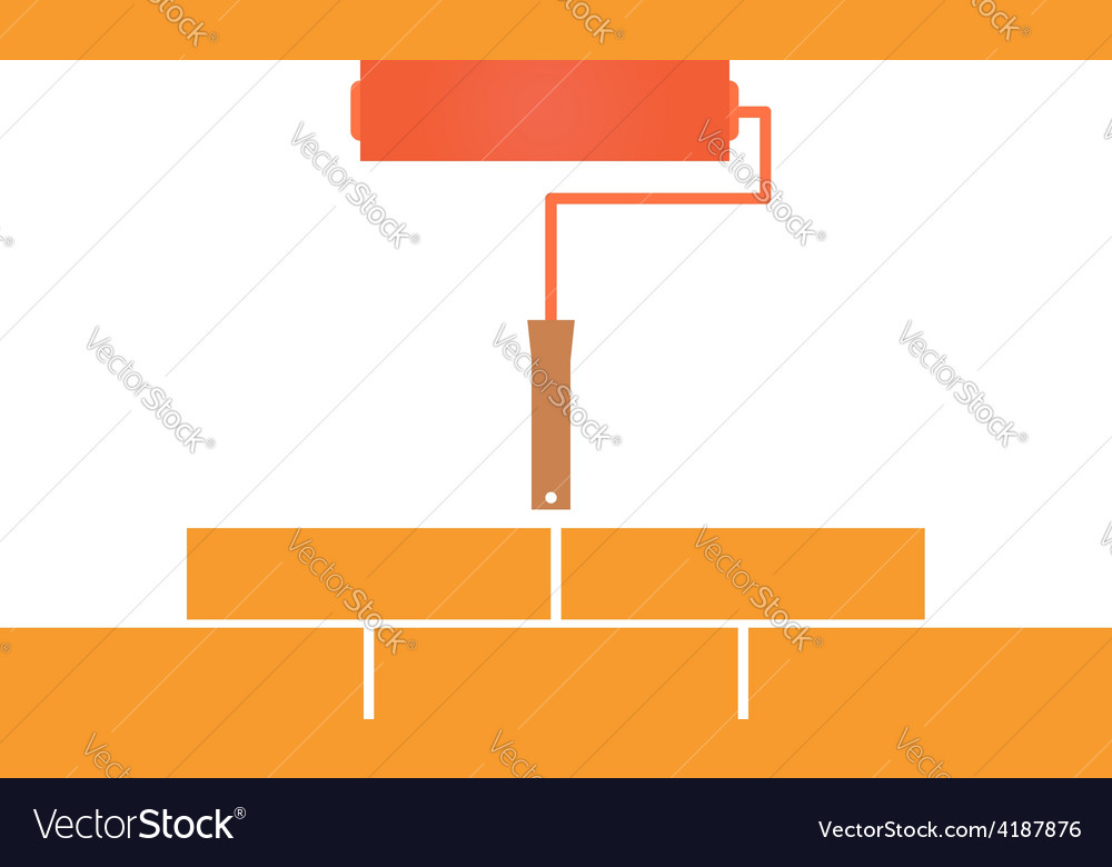 Paint roller and bricklaying concept vector | Price: 1 Credit (USD $1)