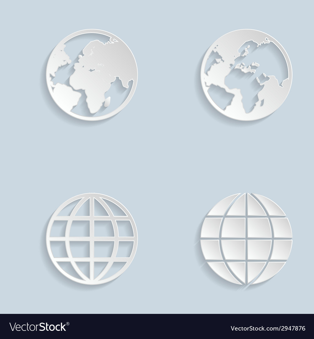 Paper globe earth icons vector | Price: 1 Credit (USD $1)