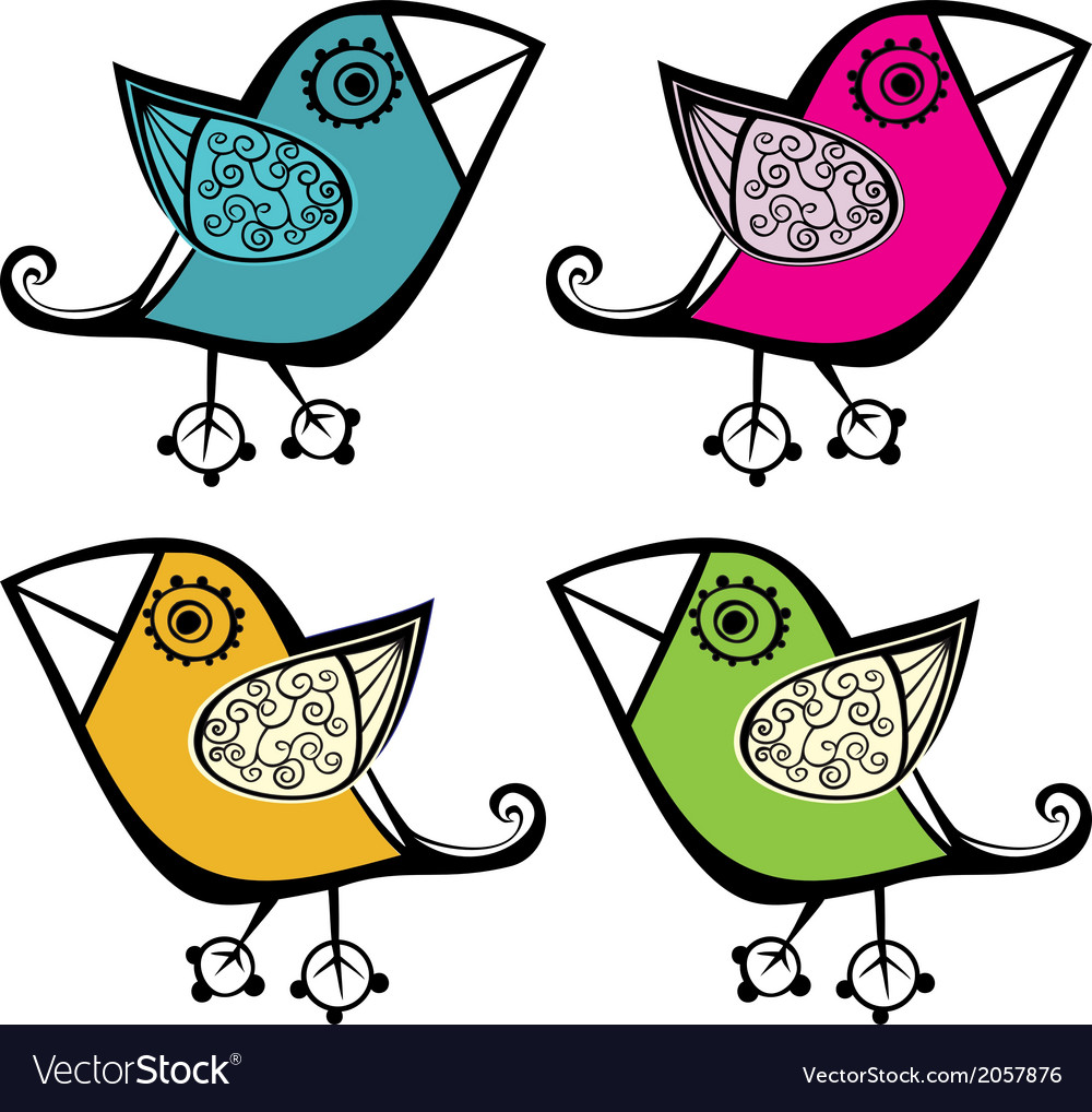 Set of four cute bird elements for your design vector | Price: 1 Credit (USD $1)