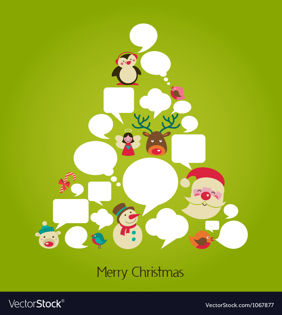 Christmas tree with cute speech bubbles vector | Price: 1 Credit (USD $1)