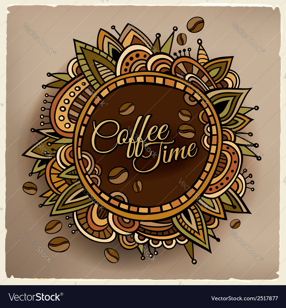 Coffee time decorative border label design vector | Price: 1 Credit (USD $1)