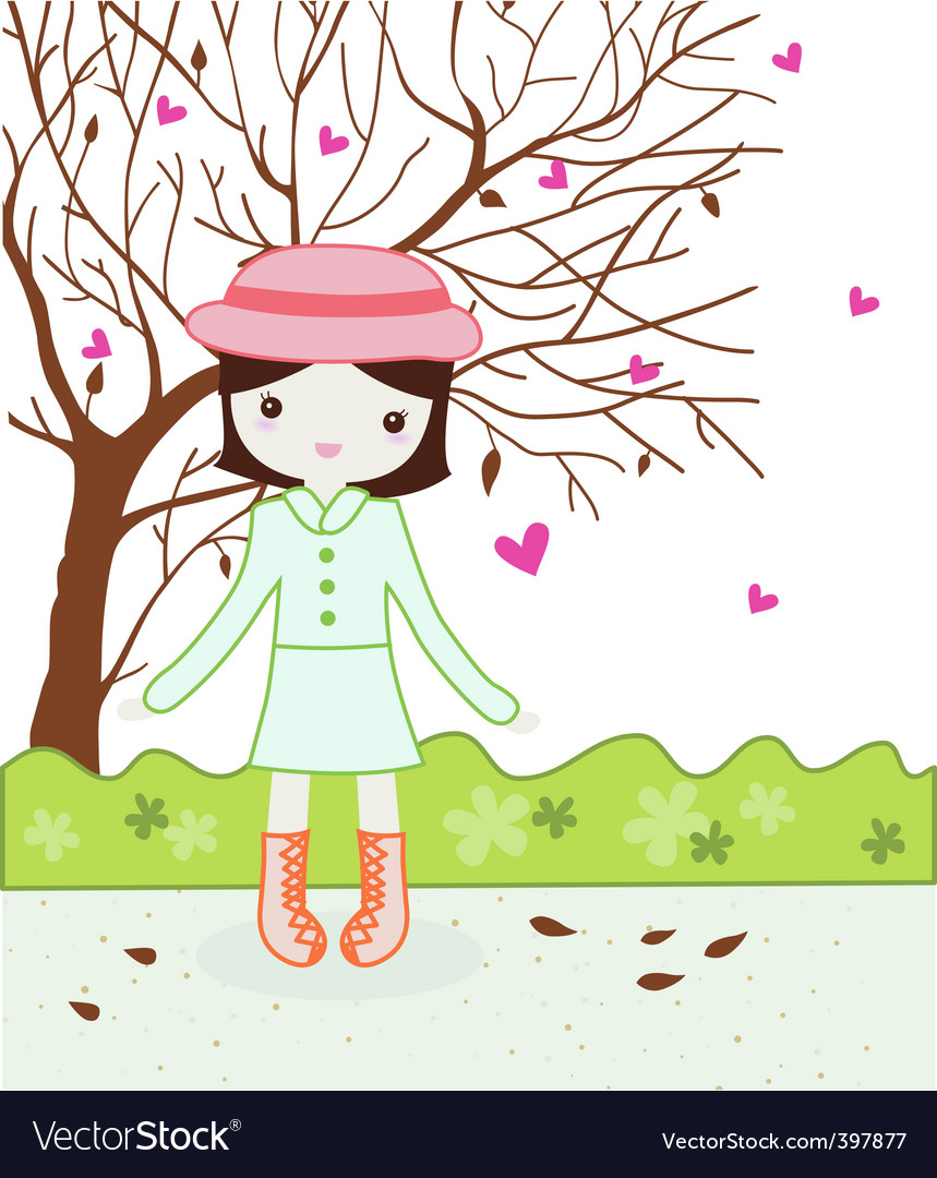 Cute girl in autumn vector | Price: 1 Credit (USD $1)